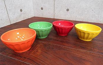 ポルトガル製 4色カラースープボウル 4点セット